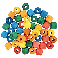 Coloured Wood Barrel Beads - Pack of 48