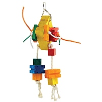 Hector Wood & Rope Stacker Parrot Toy