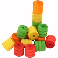 Colourful Wood Shaped Spools - Parrot Toy Parts - 16 Pack