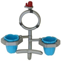 Fruit Cups Twin Holder with Mirror Parakeet Toy